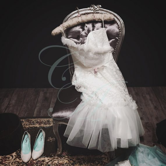 A Lace and Tulle Romance short Wedding Dress by Candy Anthony