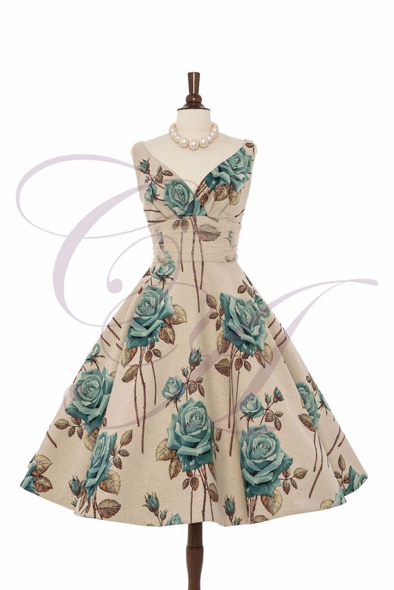 Aqua Rose Cocktail Gown by Candy Anthony