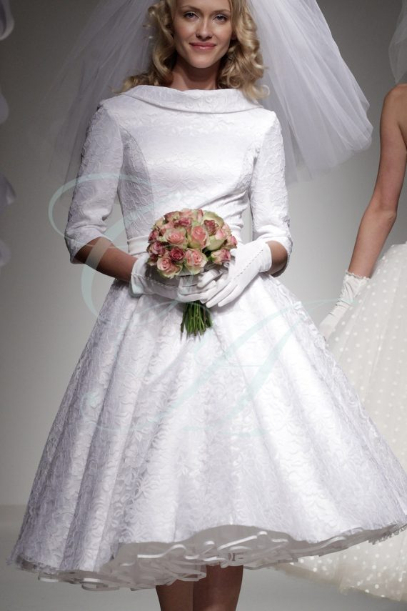 Audrey Hepburn Style Lace Short Wedding Dress by Candy Anthony