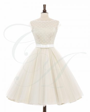 Polkadot Cream and Tulle Dress