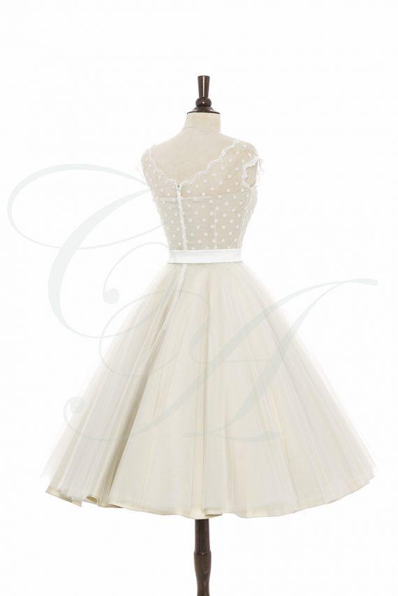 Polkadot Cream and Tulle Dress