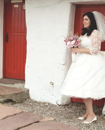 English Rose tea length wedding dress by Candy Anthony